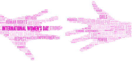 International Womens Day word cloud on a white background.  Illustration