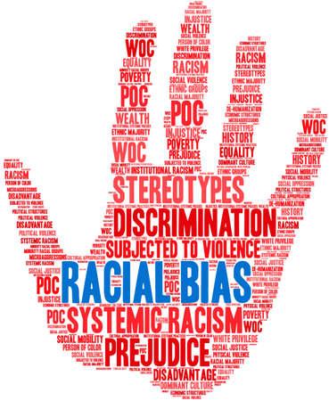 Racial Bias word cloud on a white background.  Иллюстрация