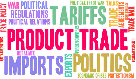 Product Trade word cloud on a white background. Ilustracja