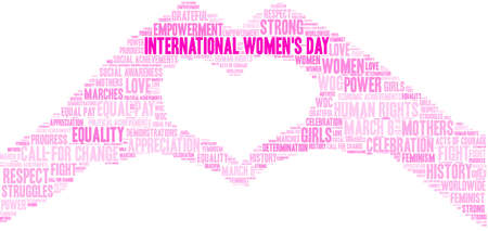 International Womens Day word cloud on a white background.