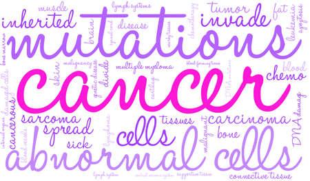 Cancer word cloud on a white background.  Ilustração