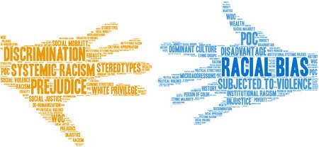 Racial Bias-Wortwolke auf weißem Hintergrund.