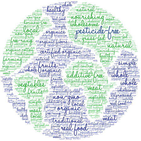 Pesticide Free word cloud on a white background.  Ilustrace