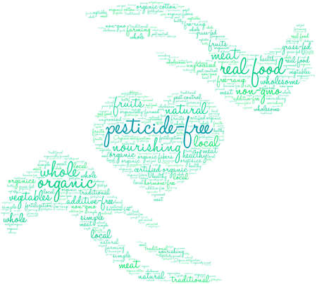 Pesticide Free word cloud on a white background.   イラスト・ベクター素材