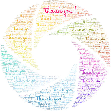 Thank You word cloud on a white background.