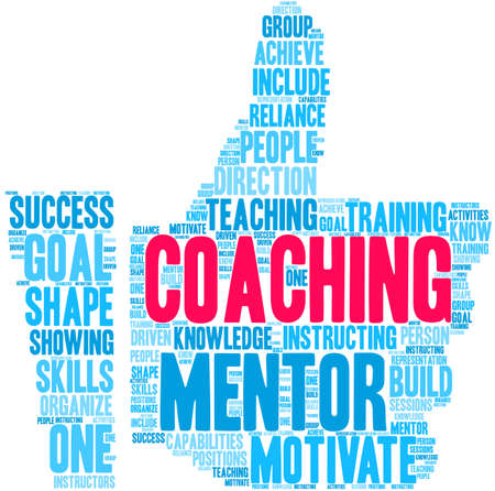 Coaching word cloud on a white background. Stok Fotoğraf - 122590658