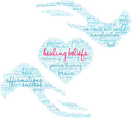 Healing Beliefs Brain word cloud on a white background.