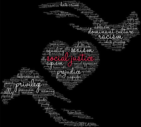 Social Justice word cloud on a black background.   イラスト・ベクター素材