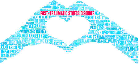 Post-Traumatic Stress Disorder Brain Word Cloud on a white background. Vektorové ilustrace