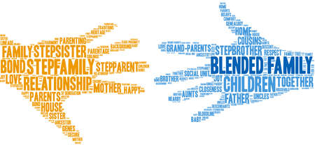 Blended Family word cloud on a white background.  Illusztráció