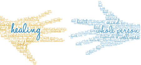 Healing word cloud on a white background.  Çizim