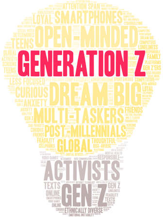 Generation Z word cloud on a white background. Stock Illustratie