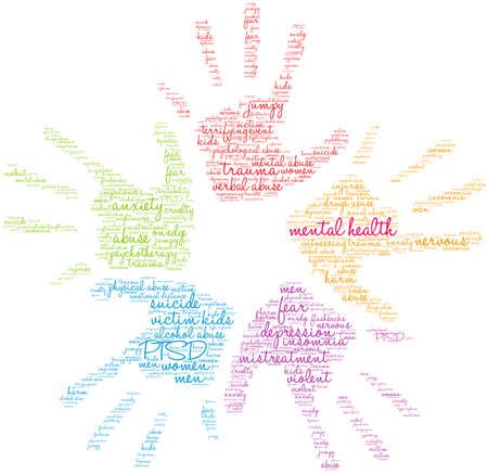 Mental Health word cloud on a white background.