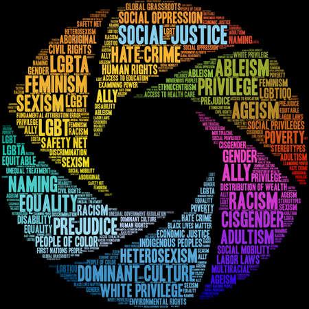 Nube de palabras de justicia social sobre un fondo negro.