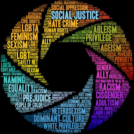 Social Justice word cloud on a black background.  Illustration