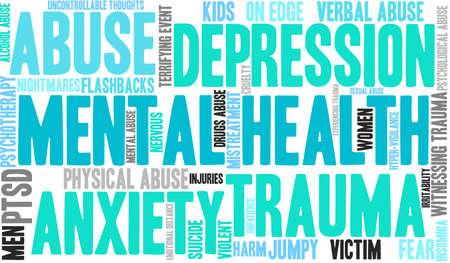 Nube de palabras de salud mental sobre un fondo blanco. Ilustración de vector