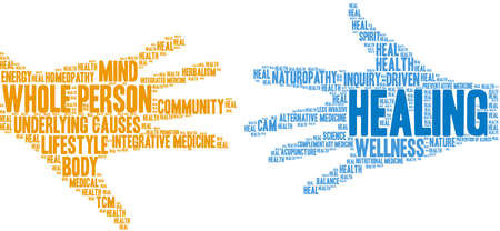 Healing word cloud on a white background.  Illustration