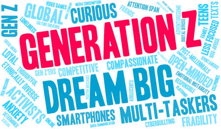 Generation Z word cloud on a white background.  イラスト・ベクター素材