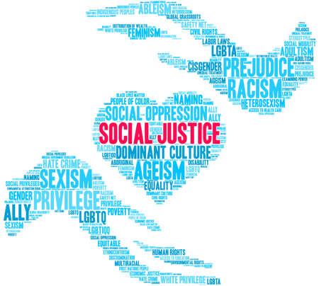 Nube de palabras de justicia social sobre un fondo blanco.
