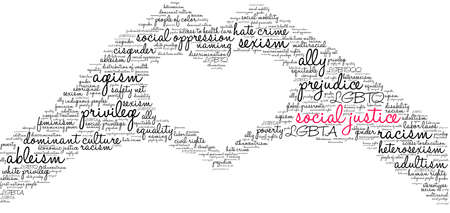 Social Justice word cloud on a white background.  Illustration