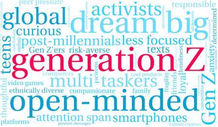 Generation Z word cloud on a white background. Archivio Fotografico - 122080220