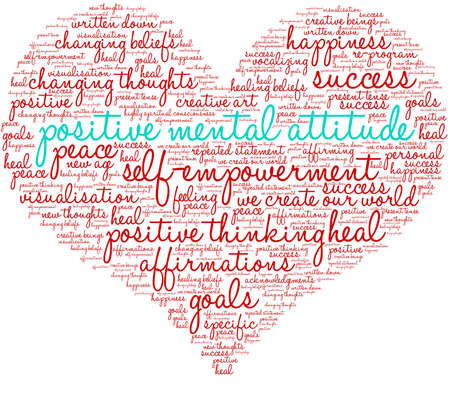 Positive Mental Attitude Brain word cloud on a white background. Фото со стока - 122590762