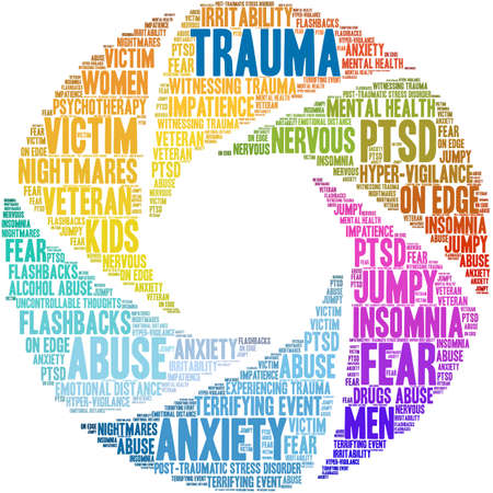 Trauma Brain word cloud on a white background. 版權商用圖片 - 122590771