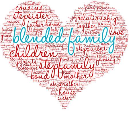 Gemischte Familie Wortwolke auf weißem Hintergrund.