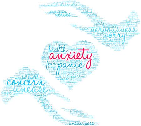 Anxiety word cloud on a white background. Vektoros illusztráció
