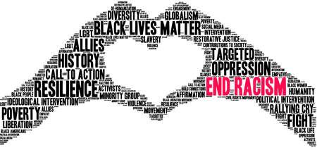 Ende Rassismus Wortwolke auf weißem Hintergrund.