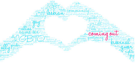 Coming Out word cloud on a white background.