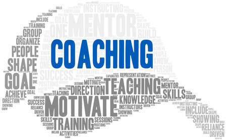Coaching word cloud on a white background. Stok Fotoğraf - 122080366