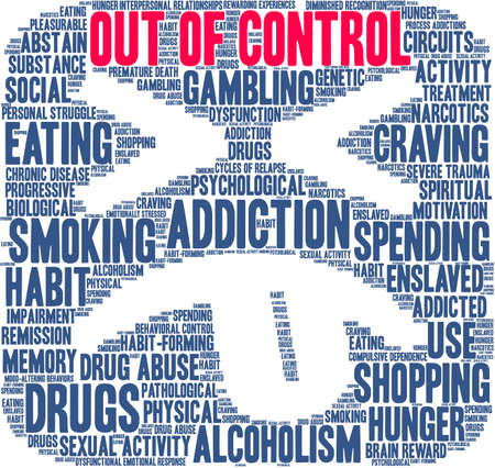 Out Of Control Addiction Brain Word Cloud On a White Background.  Illustration