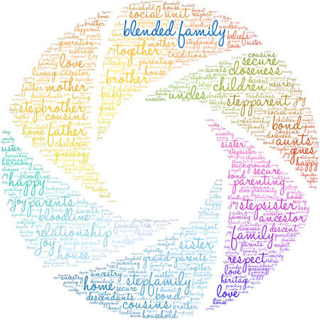 Blended Family word cloud on a white background.  Vectores