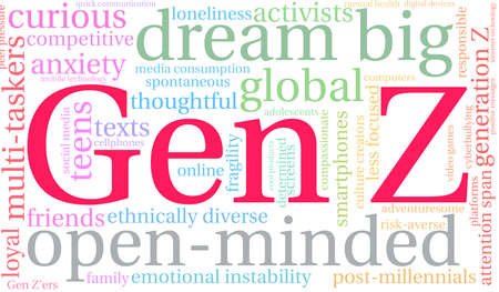 Gen Z word cloud on a white background.