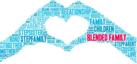 Blended Family word cloud on a white background. Foto de archivo - 122590879