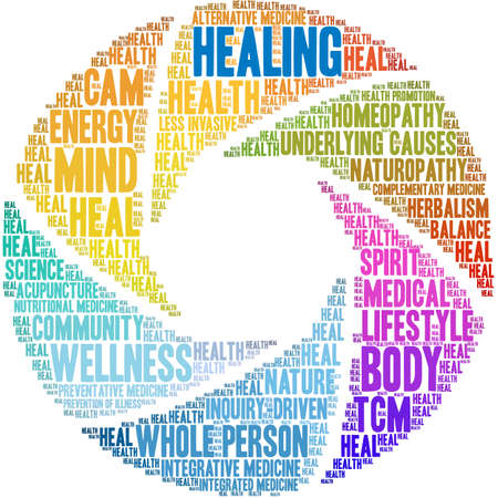 Healing word cloud on a white background.