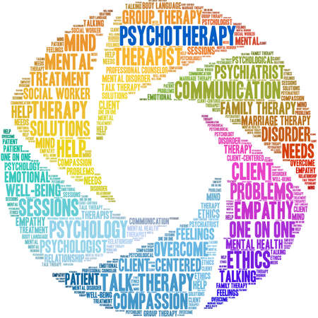 Psychotherapy word cloud on a white background.