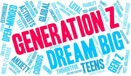 Generation Z word cloud on a white background. Vektoros illusztráció