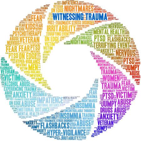 Witnessing Trauma Brain word cloud on a white background. Stockfoto - 122594843