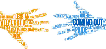 Coming Out word cloud on a white background. Ilustración de vector