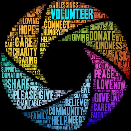 Volunteer word cloud on a black background. Stok Fotoğraf - 122594873