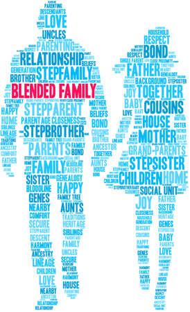 Nuage de mot famille recomposée sur fond blanc.