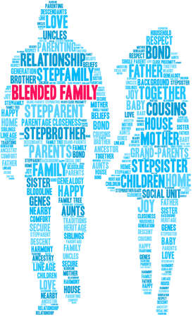 Blended Family word cloud on a white background.  Illustration