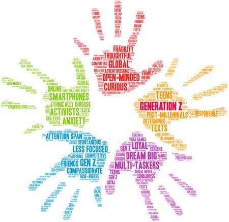 Generation Z-Wortwolke auf weißem Hintergrund. Vektorgrafik