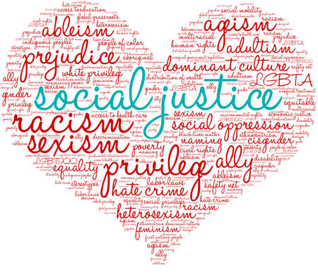 Social Justice word cloud on a white background.   イラスト・ベクター素材