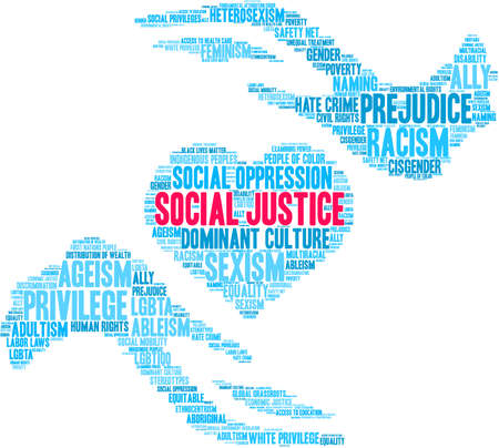 Social Justice word cloud on a white background.  Vettoriali