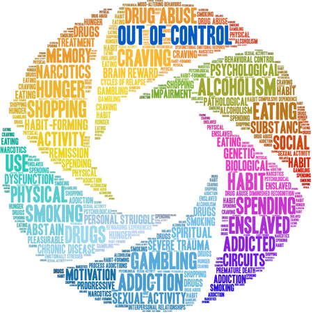 Out Of Control Addiction Brain Word Cloud On a White Background. Vector Illustration