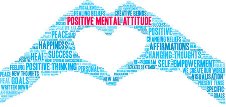 Actitud mental positiva cerebro nube de palabras sobre un fondo blanco.