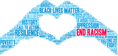 End Racism word cloud on a white background. Imagens - 122594936